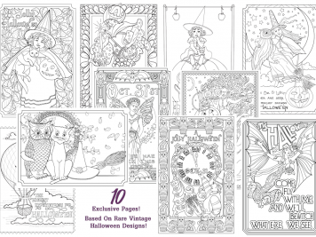 Vintage Halloween Coloring Pages by Wendy Piersall