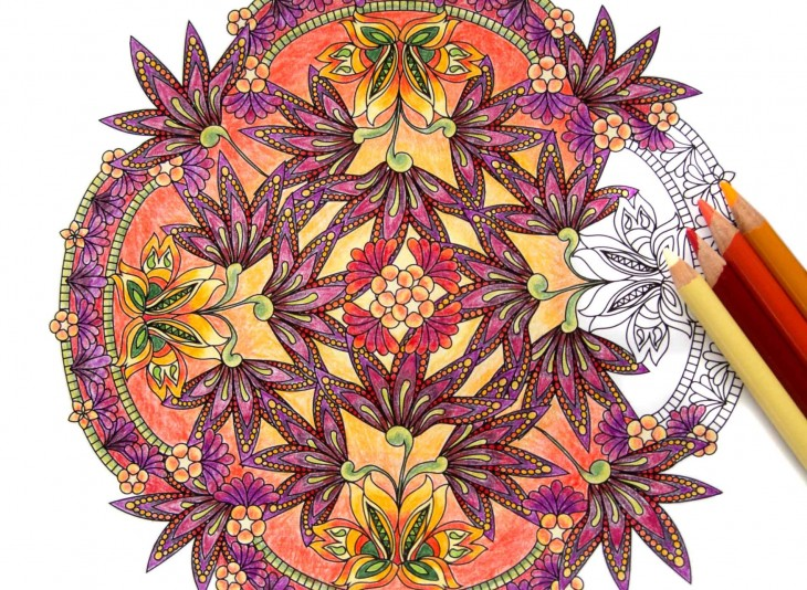 coloring flower mandalas front cover image - Color Books For Adults