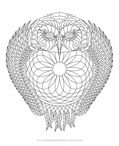 Owl Dreamcatcher Coloring Page from Coloring Dream Mandalas by Wendy Piersall