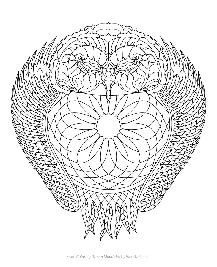 owl dreamcatcher coloring page from coloring dream mandalas by wendy piersall wendypiersallcom - Dream Catcher Coloring Pages