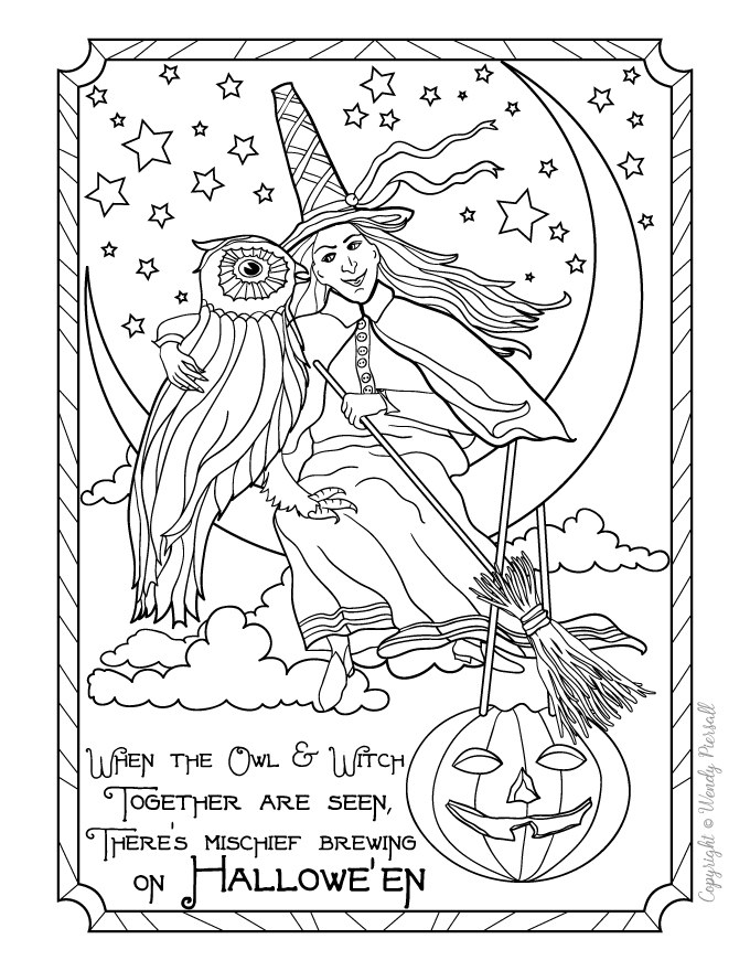retro owl coloring pages | Vintage Halloween Witch & Owl Coloring Page ...