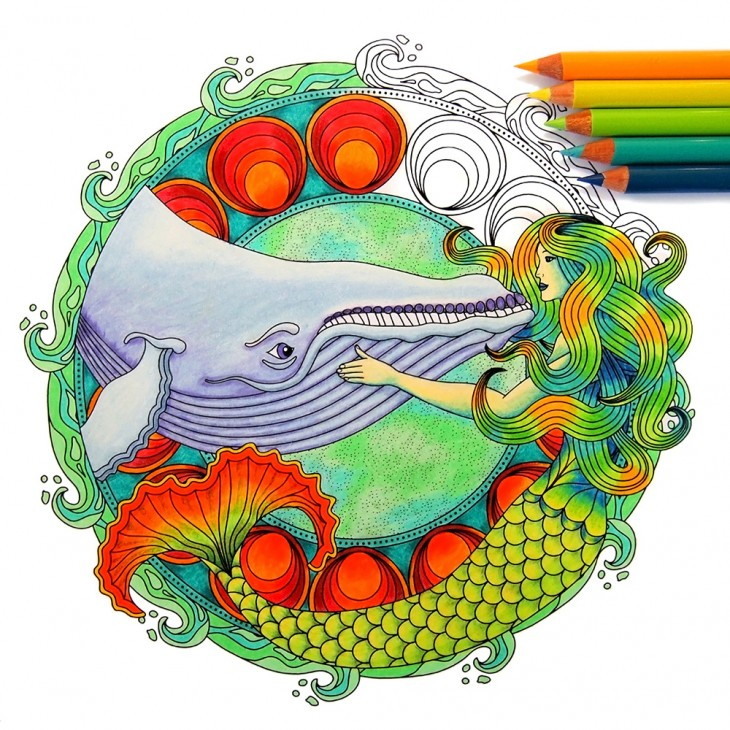 Cover Art for Coloring Ocean Mandalas